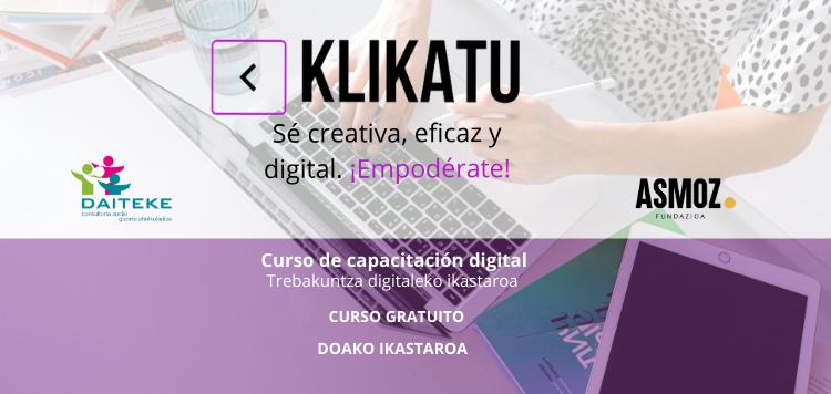 """El curso para la capacitación digital """"KLIKATU"""" será online"""